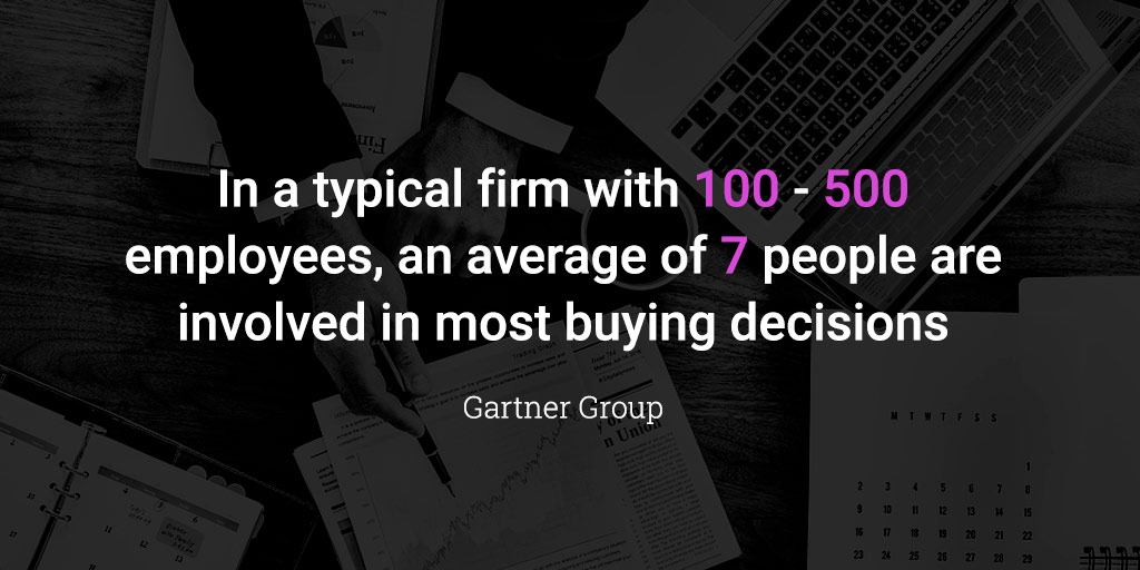 In a typical firm with 100 - 500 employees, an average of 7 people are involved in most buying decisions