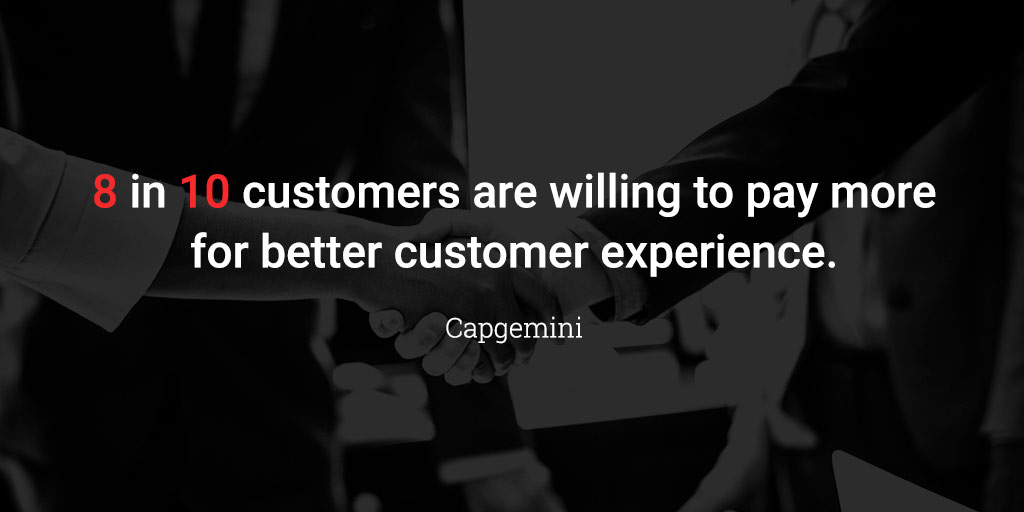8 in 10 customers are willing to pay more for better customer experience.