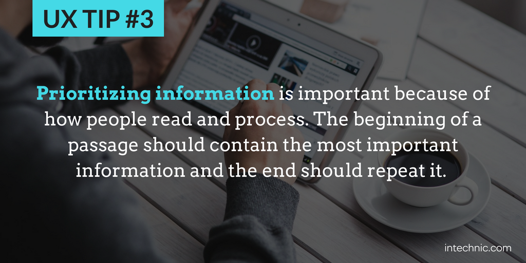 3 - Prioritizing information is important