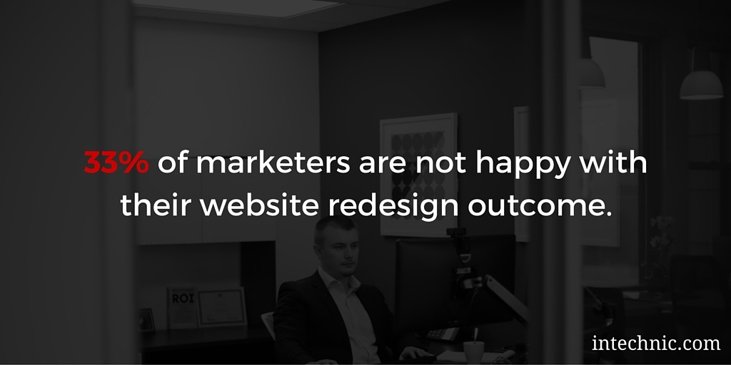 33 percent of marketers are not happy with their website redesign outcome