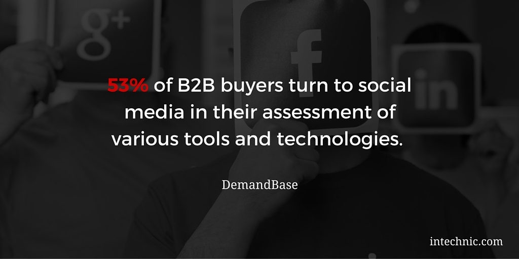 53 percent of B2B buyers turn to social media in their assessment of various tools and technologies