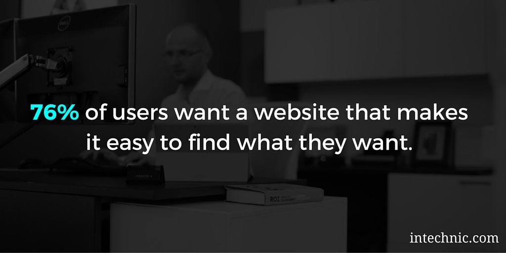 76 percent of users want a website that makes it easy to find what they want