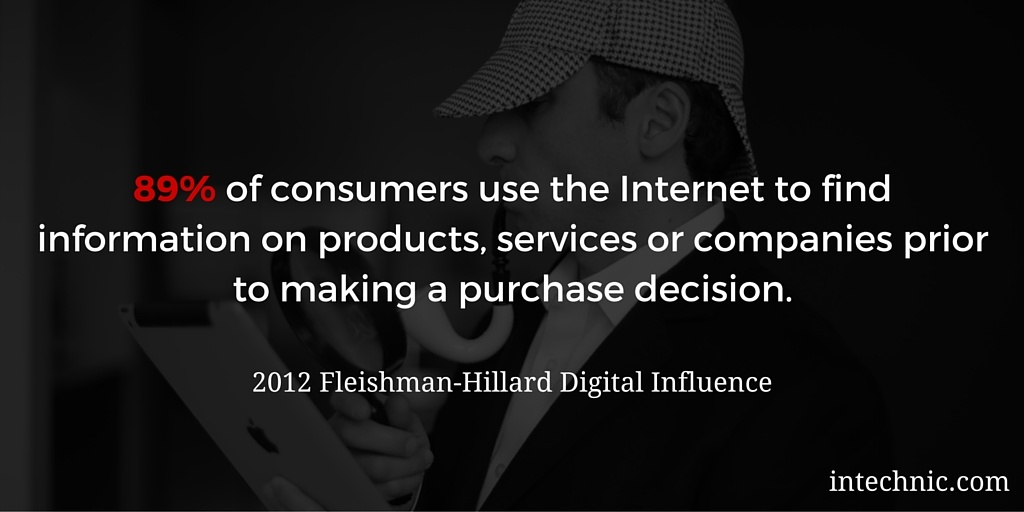 89 of consumers use the Internet to find information on products, services or companies prior to making a purchase decision