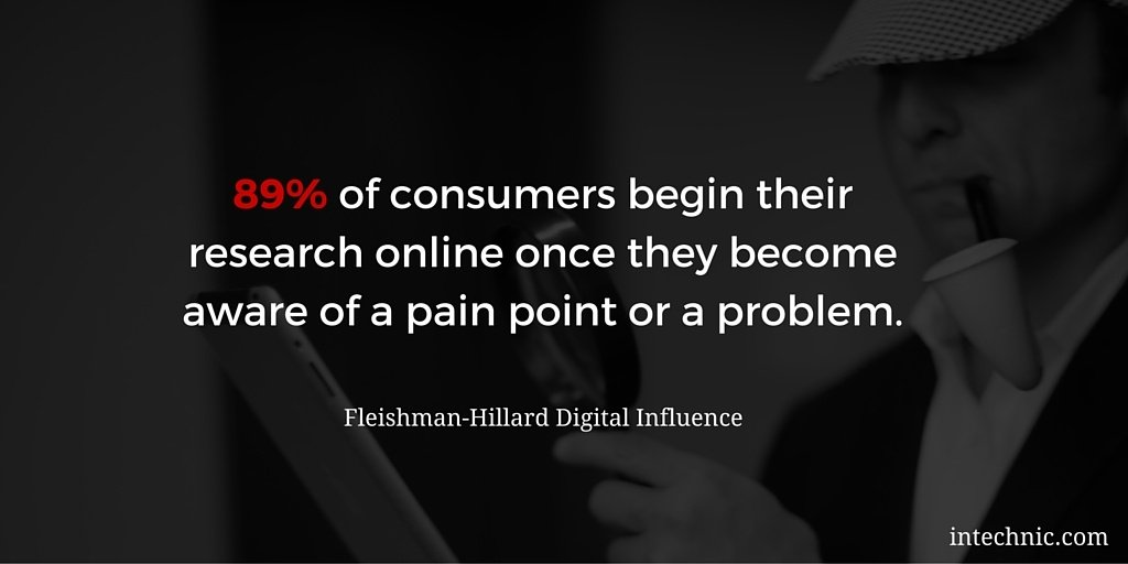 89 percent of consumers begin their research online once they become aware of a pain point or a problem