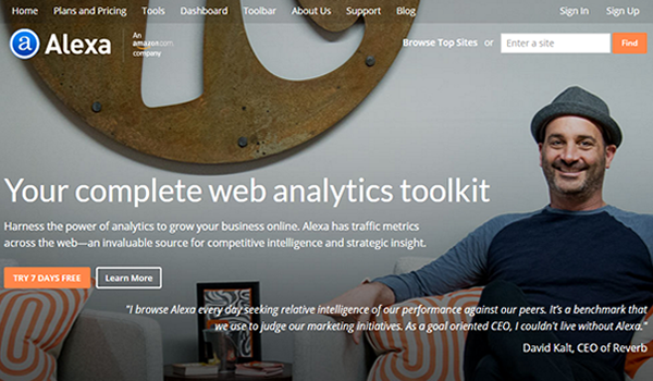 Alexa tool for website competitive analysis