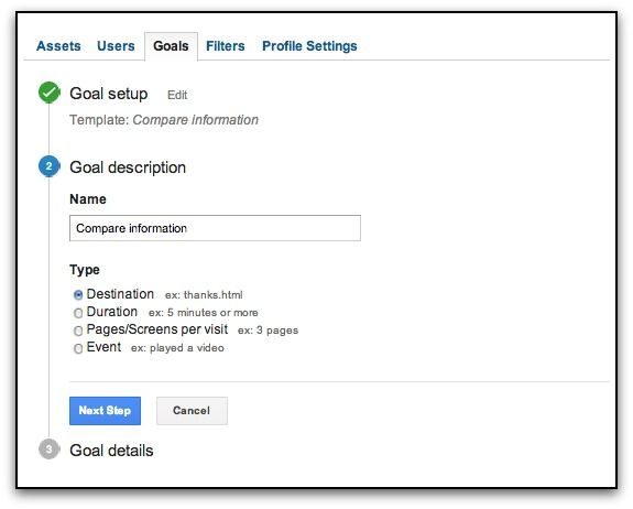 google analytics goal description