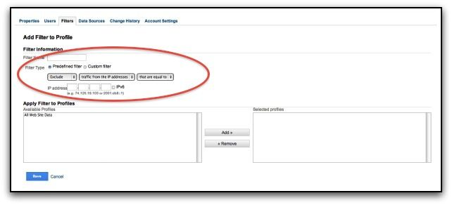 google analytics profile filter