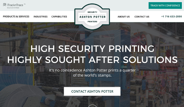 Ashton Potter Homepage Featuring Taglines