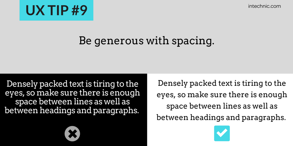 Be generous with spacing