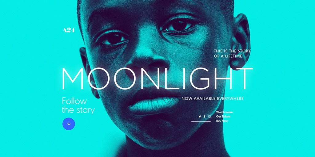 Best Use of Photography - Moonlight Movie Website