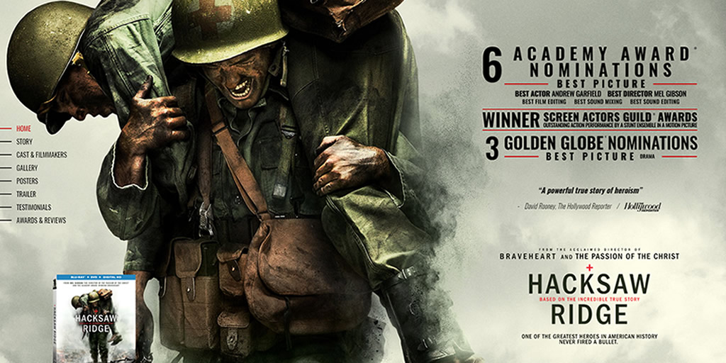 Best Visual Design - Hacksaw Ridge Movie Website