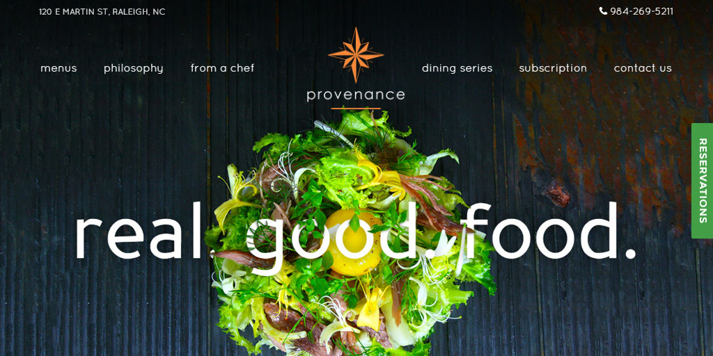 Best restaurant website design inspirations_10_provenanceraleigh