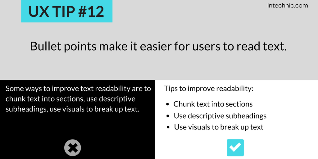 Bullet points make it easier for users to read text