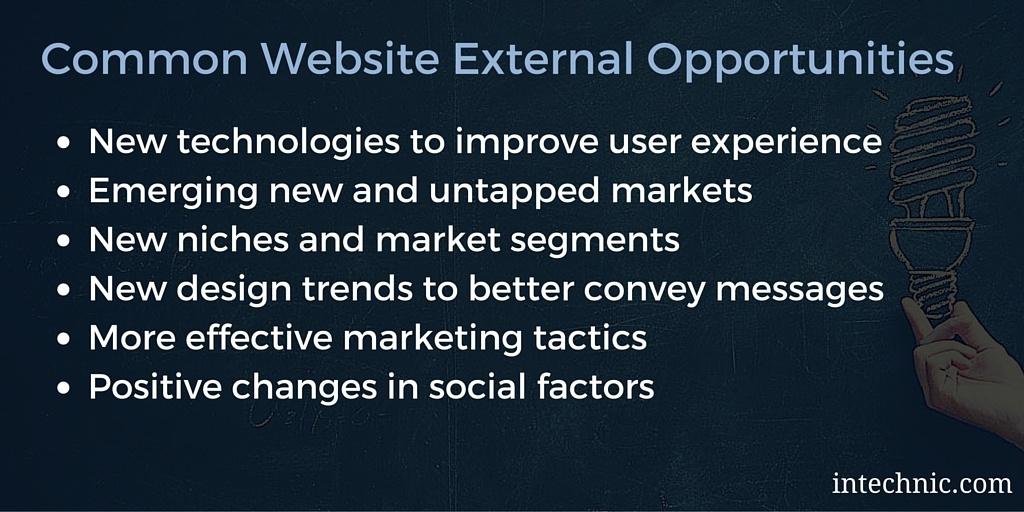 Common Website SWOT External Opportunities