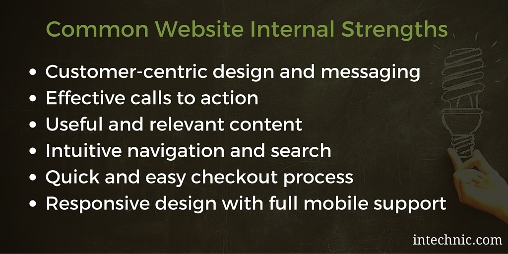 Common Website SWOT Internal Strengths