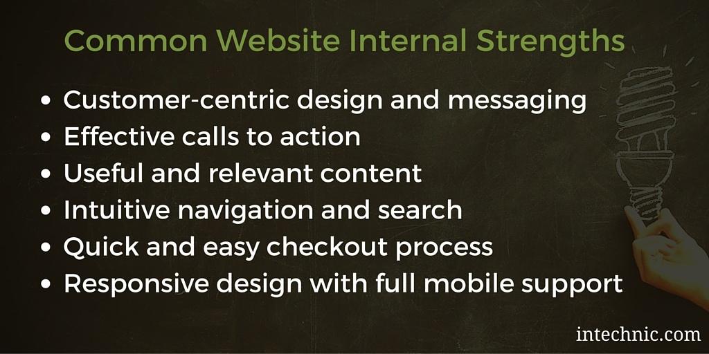 Common Website SWOT Internal Strengths
