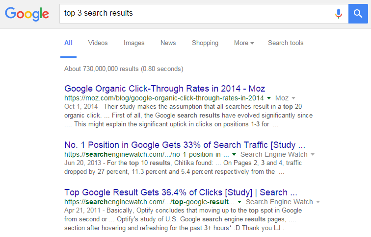 The Top 3 Google Search Results