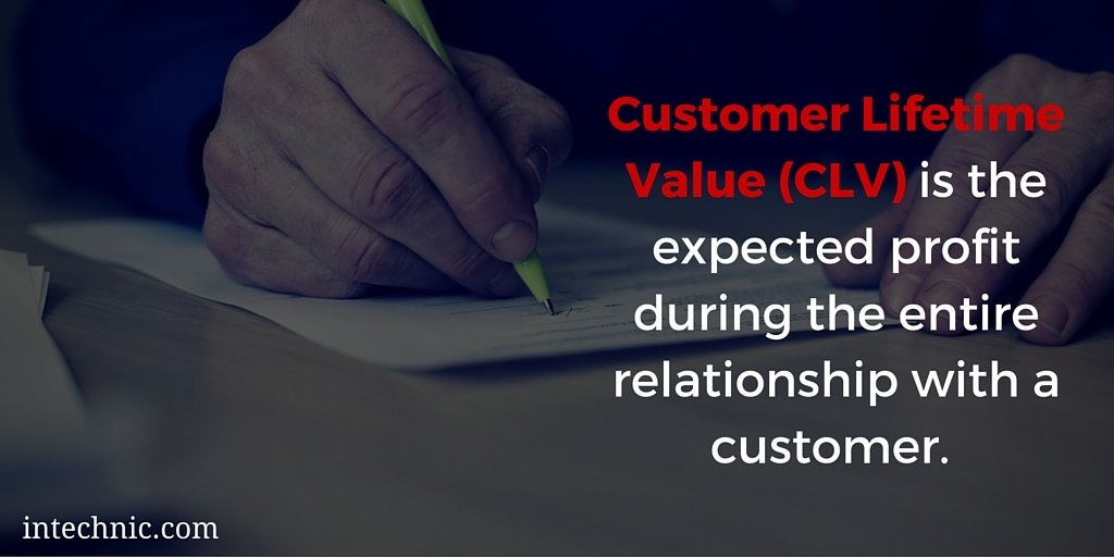 Customer Lifetime Value (CLV) is the expected profit during the entire relationship with a customer