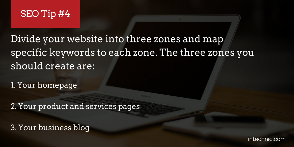Divide your website into three zones and map specific keywords to each zone