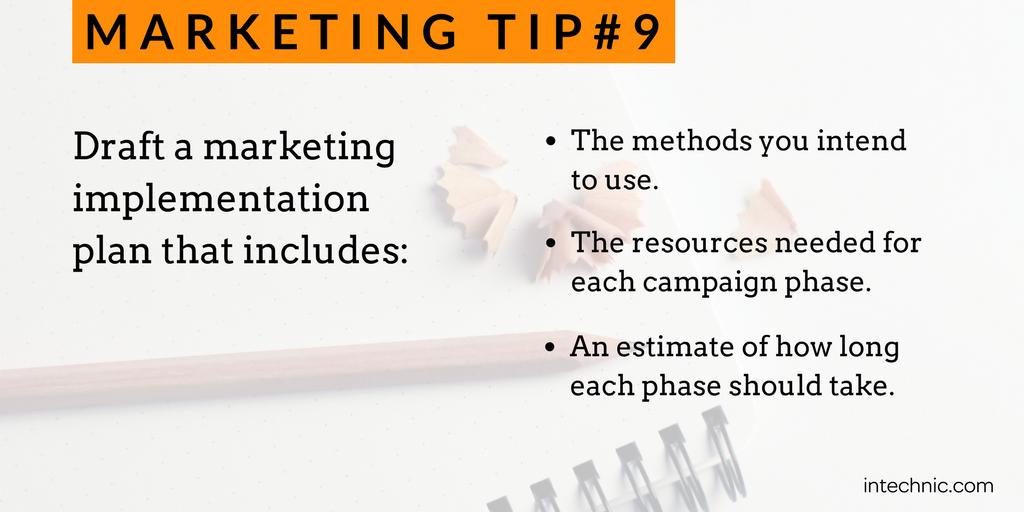 Draft a marketing implementation plan
