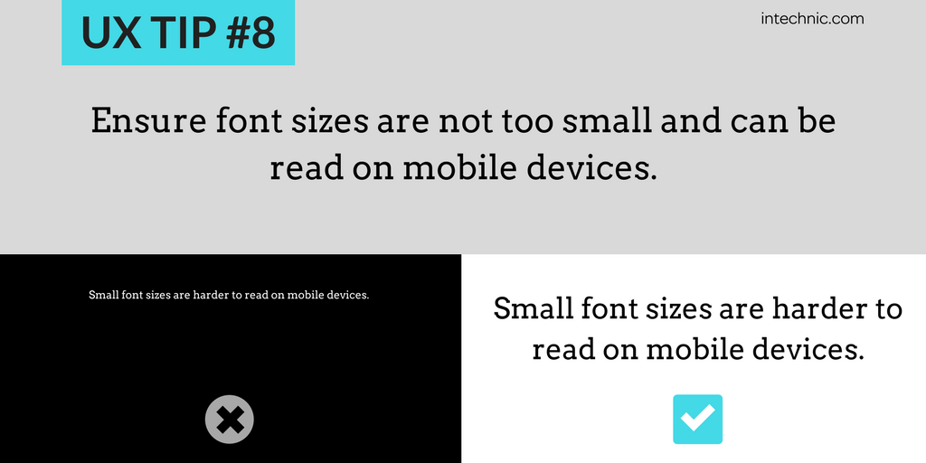 Ensure font sizes are not too small and can be read on mobile devices