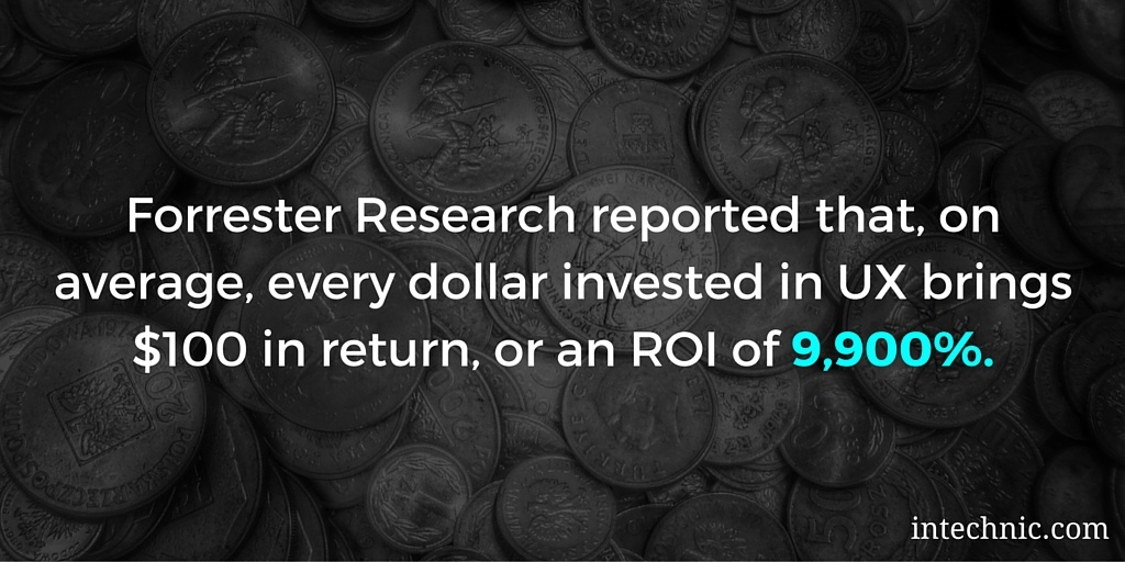 Forrester Research reported that, on average, every dollar invested in UX brings $100 in return, or an ROI of 9,900 percent