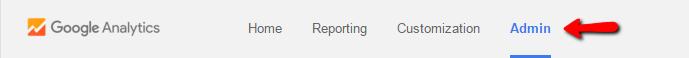 Google Analytics Admin Tab