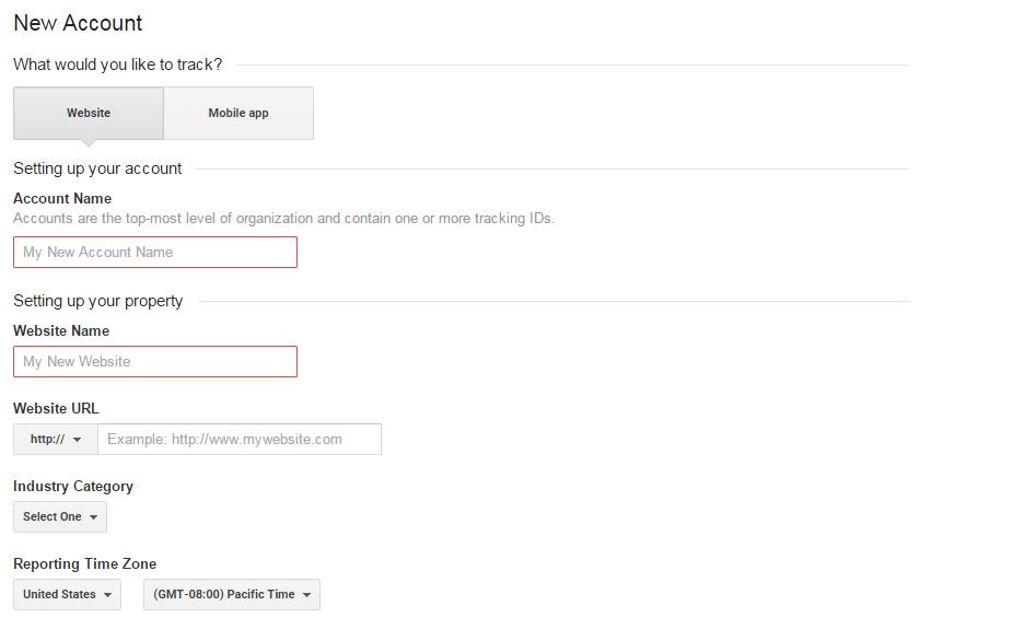 Google Analytics Name Account