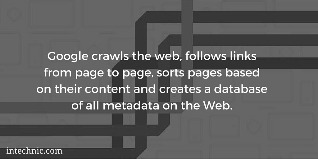 Google crawls the web, follows links from page to page, sorts pages based on their content and creates a database of all metadata on the Web