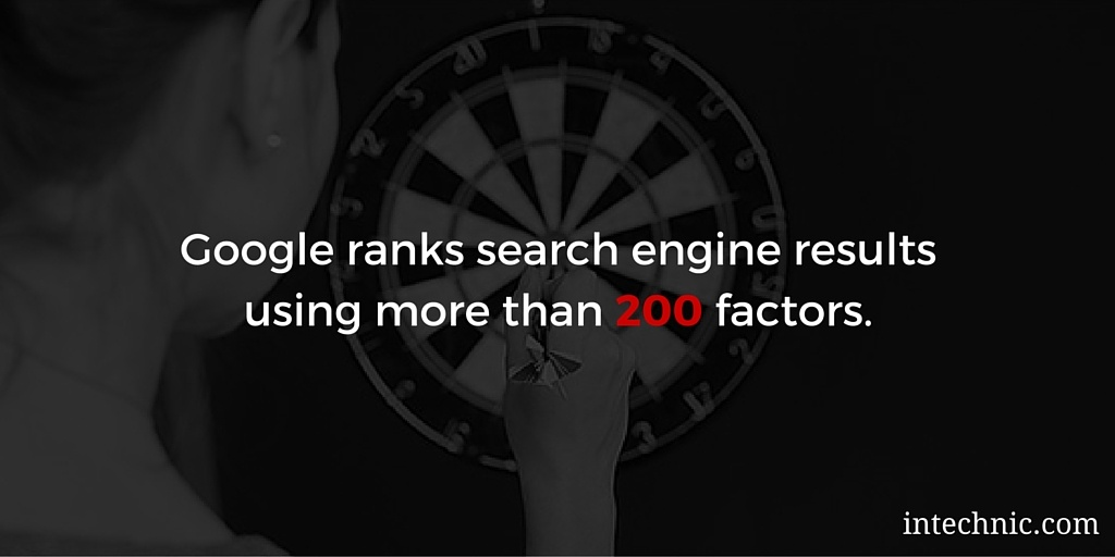 Google ranks search engine results using more than 200 factors