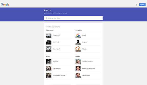 Google Alerts tool for website competitive analysis