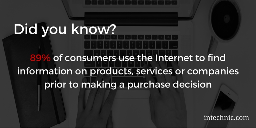 89% of consumers use the Internet to find information on products, services or companies prior to making a purchase decision