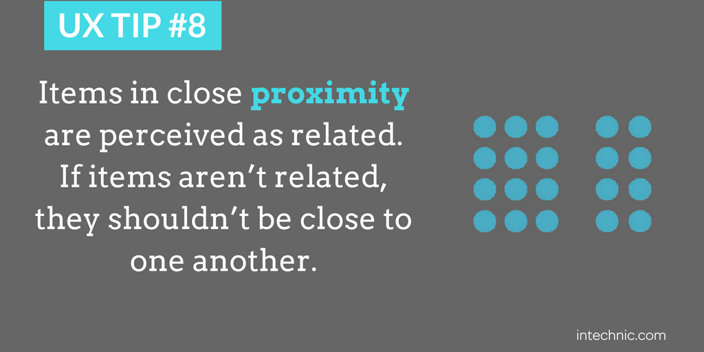 Items in close proximity are perceived as related