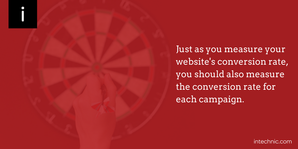 Just as you measure your website's conversion rate, you should also measure the conversion rate for each campaign