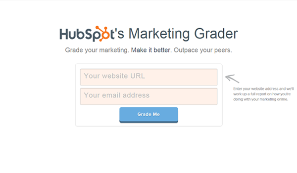 HubSpot Marketing Grader tool for website competitive analysis
