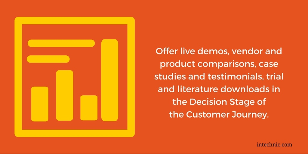 Offer live demos, vendor and product comparisons, case studies and testimonials, trial and literature downloads in the Decision Stage of the Customer Journey