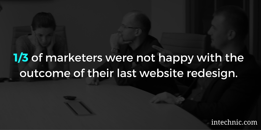 One-thrid of marketers were not happy with the outcome of their last website redesign