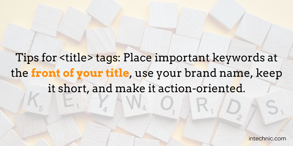 Place important keywords at the front of your title