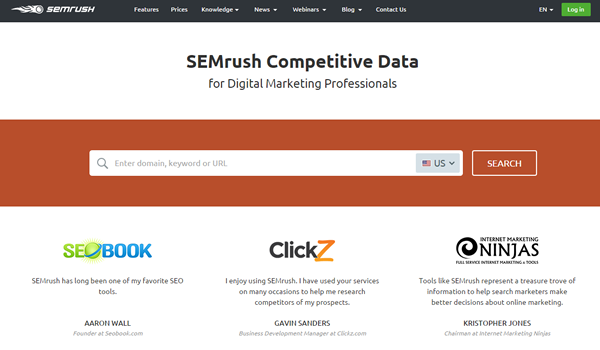 SEMRush tool for website competitive analysis