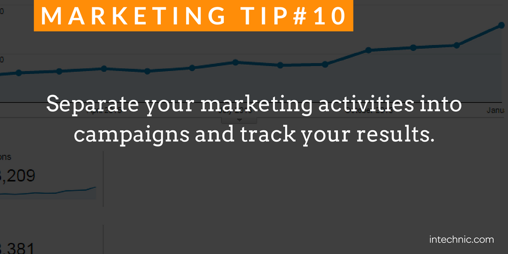 Separate your marketing activities into campaigns and track your results