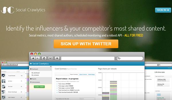 Social Crawlytics tool for website competitive analysis