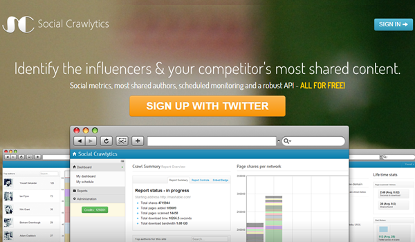 Social Crawlytics tool for website competitive analysis