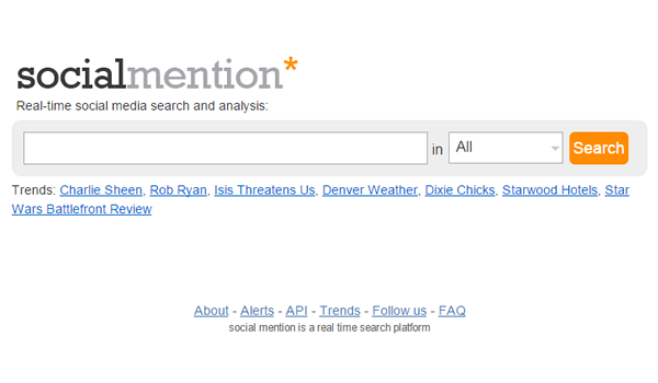 SocialMention tool for website competitive analysis