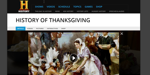 The History Channel_Thanksgiving_Website