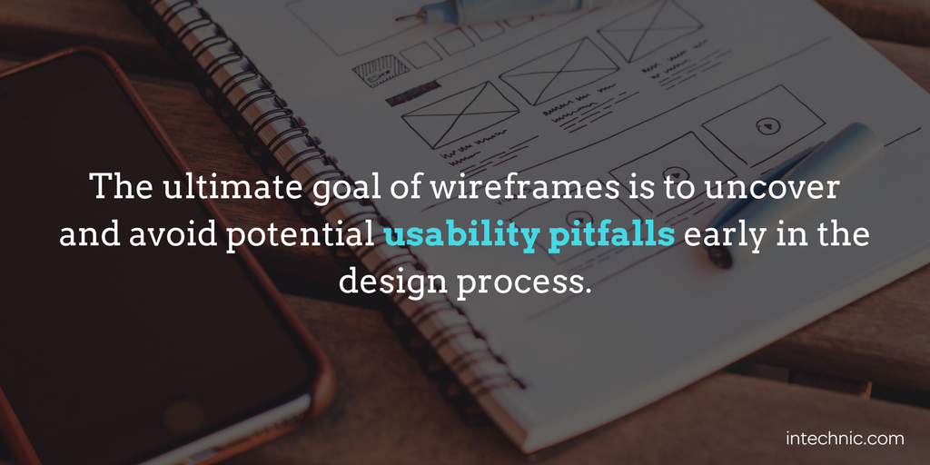 The ultimate goal of wireframes is to uncover and avoid potential usability pitfalls early in the design proce