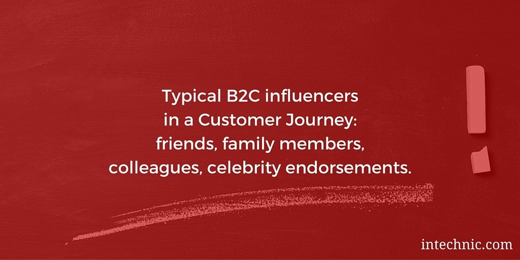 Typical B2C influencers in a Customer Journey - friends, family, colleagues, celebrity endorsements