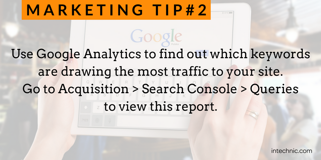 Use Google Analytics to find out which keywords are drawing the most traffic to your site