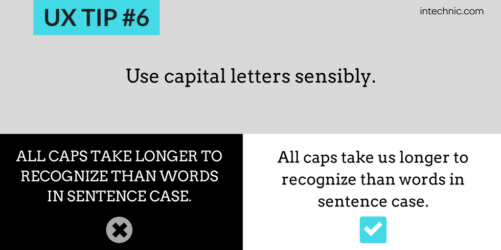 Use capital letters sensibly
