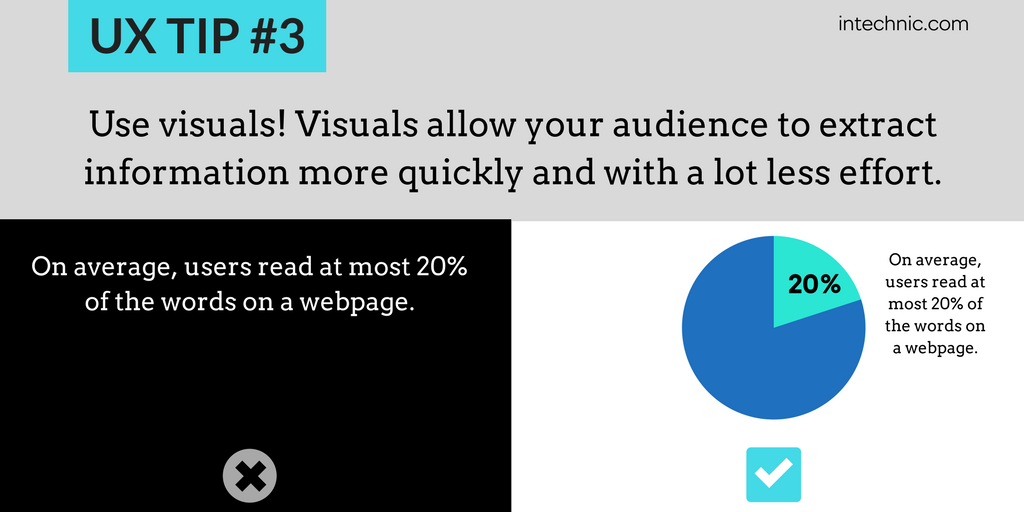 Use visuals - Visuals allow your audience to extract information more quickly and with a lot less effort