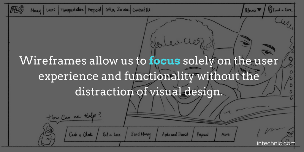 Wireframes allow us to focus solely on the user experience and functionality without the distraction of visual